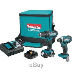 (2-Piece) New 18-Volt Compact Lithium-Ion Cordless Combo Kit Impact Driver/Drill
