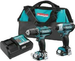Cordless Drill and Impact Driver Power Tool Combo Kit Charger 2 Batteries 12V