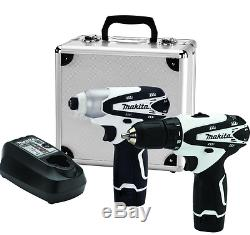 Lightweight Compact Drill Impact Driver White Tool Battery Charger Included NEW