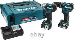 MAKITA 10.8V / 12V 2x 2Ah Li-Ion CXT Brushless Combi Drill and Impact Driver Set