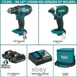 MAKITA CT225R 18V LXT Li-Ion Compact Cordless Impact Driver Drill 2-Pc Combo Kit