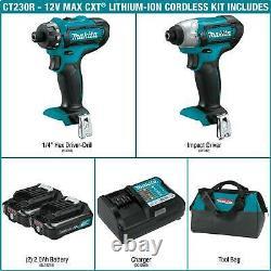MAKITA CT230R 12V MAX CXT Li-Ion Cordless Impact & Drill Driver 2-Pc Combo Kit