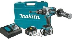 MAKITA Cordless Hammer Drill Kit Battery Charger LXT Wood Masonry Metal 1/2 in