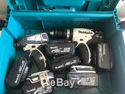 MAKITA DRILL PACK COMBI DRILL & IMPACT DRIVER 6X Batteries WHITE EDITION 18V