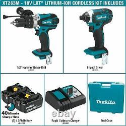MAKITA XT263M 18V LXT Li-Ion Cordless Hammer-Drill Impact-Driver 2-Pc Combo Kit