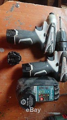 Makita 10.8v volt drill and impact driver HP330D/TD090D 4 batteries and charger