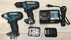 Makita 12V Drill Set DT03 Impact FD05 Drill DC10WD Charger 2 12V batteries