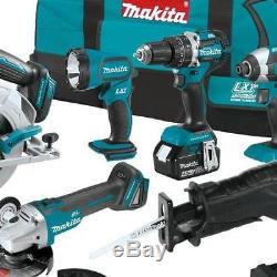 Makita 18 Volt 6 Combo Power Tool Hammer Driver Drill Impact Driver Saw Grinder
