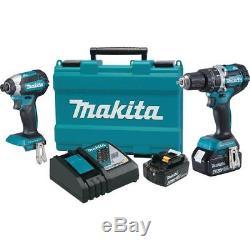 Makita 18-Volt LXT Lithium-Ion Brushless Cordless Hammer Drill Combo Kit, Case