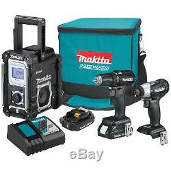 Makita 18 Volt LXT Sub-Compact Brushless Cordless 2 Drill & Radio Combo Kit