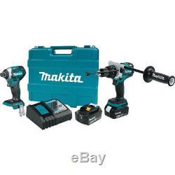 Makita 18V 5.0 Ah LXT Li-Ion Hammer Drill & Impact Driver Kit XT268T New