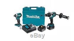 Makita 18V 5.0 Ah LXT Li-Ion Hammer Drill & Impact Driver Kit XT268T New NIB