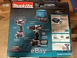 Makita 18V Compact Lithium Ion Cordless Combo Kit, Drill & Impact Driver CT200RW