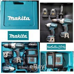 Makita 18V Cordless Hammer Drill Driver LXT BHP451 Impact BTD141 Kit + Case