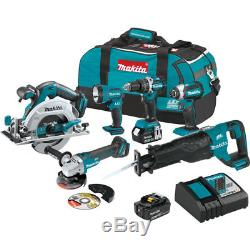 Makita 18V LXT Brushless Cordless Drill 6 Piece Combo Power Tool Kit with Battery