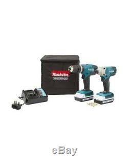 Makita 18V Li-ion Combi Drill & Impact Driver Twin Pack incl 2 Batteries! NEW