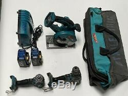 Makita 18V Power Tool Set Impact Drill Saw 2 Batteries Bag & Charger Tested