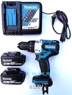 Makita 18V XPH07 Brushless 1/2 Hammer Drill, 2 BL1830 Batteries, Charger 18 Volt