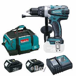 Makita 18v Bhp458 Combi Drill 2 Bl1830 Batteries Dc18rc Charger & Bag