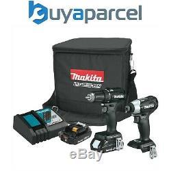 Makita 18v Black Brushless Twin Kit Combi Hammer Drill + Impact Driver +Cube Bag