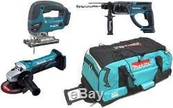 Makita 18v DJV180 Jigsaw + DHR202 Hammer Drill + DGA452 Grinder + LXT Bag
