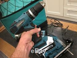 Makita 18v Li-ion Cordless Combi Drill Impact Driver & Jigsaw Triple Pack