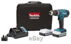 Makita 18v Li-ion Cordless Hammer Combi Drill + 2 x Battery HP457DWEX2