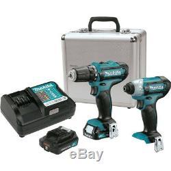 Makita 2 Tool 12V MAX CXT 1/4 Hex Impact Driver & 3/8 Drill Combo Kit #CT226RX
