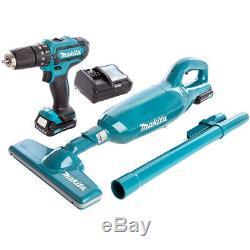 Makita CLX214X1 10.8v CXT 2x1.5Ah Li-ion Combo Kit HP331D Drill & CL106FD Vacuum