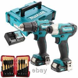 Makita CLX224AJ 12V CXT Twin Kit 2 x 2.0Ah Batteries & 8 Piece Drill Bit Set