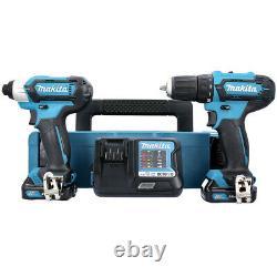 Makita CLX224AJ 12V MAX CXT Drill & Driver Twin Kit + Free 33Pc Screwdriver Set
