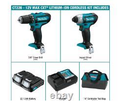 Makita CXT 12V Lithium-Ion Cordless 3/8 Drill Driver Kit Batteries Charger Bag
