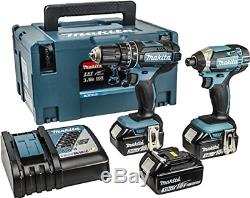 Makita Combi Drill and Impact Driver 18V with Batteries & Charger Kit DLX2131JX1
