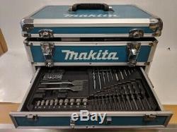 Makita Cordless 18V Li-Ion Combi Drill 3x Batteries HP457DWEX3 & Drill Bits/Case