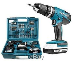 Makita Cordless Combi Drill G-Series 18V with 2 Batteries 70-Piece Accessory Kit