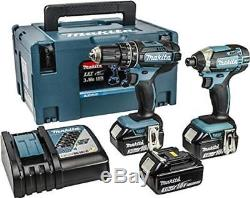 Makita Cordless Combi Drill Impact Driver 18V Kit Set 3 Li Ion Batteries Charger