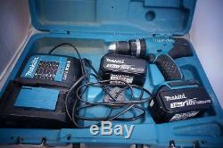 Makita Cordless Drill DHP453 2X 18V Batterys And Charger