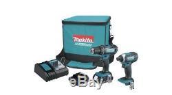 Makita Cordless Impact Driver Drill Combo Kit 18 Volt Battery Charger Tool Bag