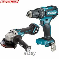 Makita DGA463Z 18V Cordless Brushless Angle Grinder + DHP485Z Combi Drill Body