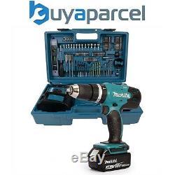 Makita DHP453FX12 18v Lithium Combi Hammer Drill + 101 Piece Screwdriver Bit Set