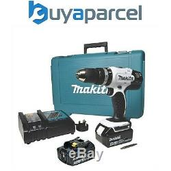 Makita DHP453RFEW 18v White Lithium Combi Hammer Drill 2 Batteries, Case