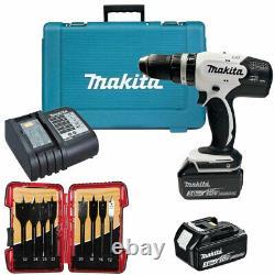 Makita DHP453SFEW 18V Combi Drill 2 x 3.0Ah Batteries & 8 Piece Drill Bit Set