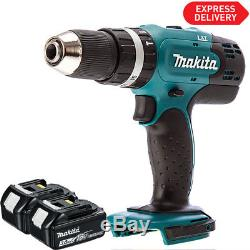 Makita DHP453Z 18v 13mm 2 Speed Combi Drill Body With 2 x 3.0Ah BL1830 Batteries