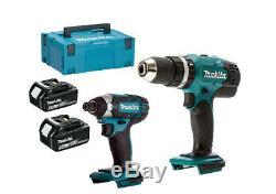 Makita DHP453Z 18v LXT Combi Drill + 2x BL1830 3ah Batteries + + DTD152 MAKPAC