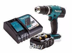 Makita DHP453Z 18v LXT Combi Drill + 2x BL1850B 5ah Batteries + DC18RC Charger