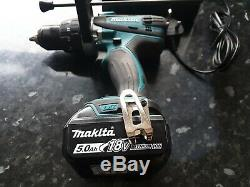 Makita DHP458 18v combi hammer drill 5.0Ah battery and fast charger heavy duty