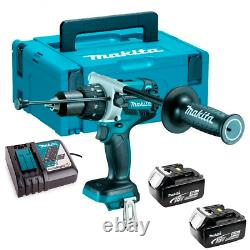 Makita DHP481RTJ 18V LXT Brushless Combi Drill with 2 x 5.0Ah Batteries + Case
