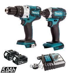 Makita DHP481Z 18v Combi Drill With DTD152Z Impact + 2 x 5.0Ah BL1850 & DC18RC