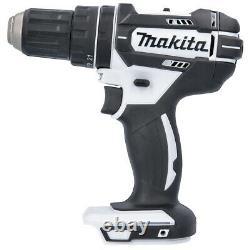 Makita DHP482 18V White Combi Drill + Bag & 56 Piece Drill & Screwdriver Bit Set