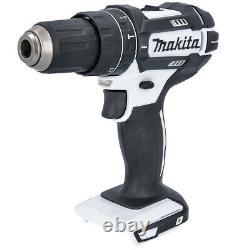 Makita DHP482 18V White Combi Drill + Case & 56 Piece Drill & Screwdriver Set